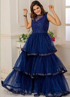 Designer Partywear Navy Blue Soft Net Gown