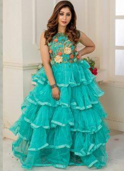 Designer Partywear Seaform Soft Net Gown