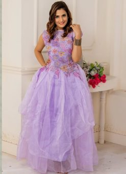 Designer Partywear Light Purple Soft Net Gown