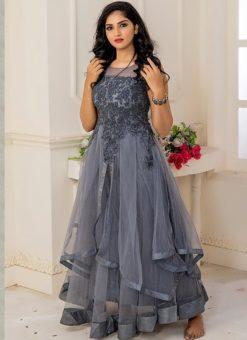 Designer Partywear Gray Soft Net Gown