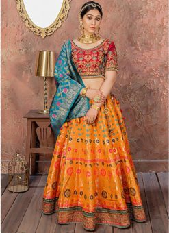Orange Banarasi Silk Resham Work Designer Lehenga Choli