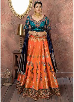 Morpich And Orange Banarasi Silk Resham Work Designer Lehenga Choli
