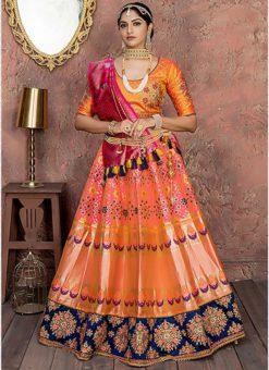 Yellow Banarasi Silk Resham Work Designer Lehenga Choli