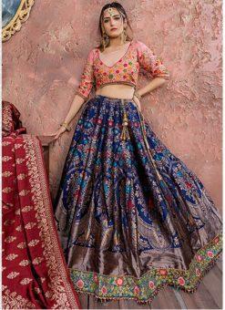 Blue Banarasi Silk Resham Work Designer Lehenga Choli