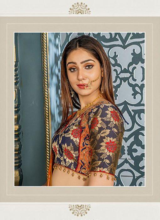 Buy Designer Wedding Embroidery Teal Grey Banarasi Silk Lehengha Choli