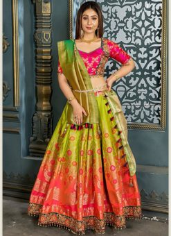 Buy Designer Wedding Embroidery Lime Green Banarasi Silk Lehengha Choli