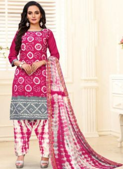 Designer Casual Printed Rani and Grey Pure Cotton  Salwar Suit