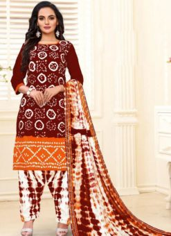 Designer Casual Printed Maroon and Orange Pure Cotton  Salwar Suit