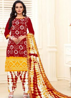 Designer Casual Printed Red and Yellow Pure Cotton  Salwar Suit