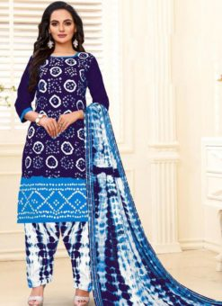 Designer Casual Printed Navy Blue and Sky Pure Cotton  Salwar Suit