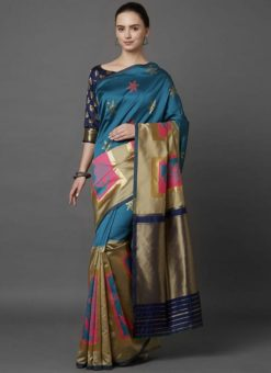 Designer Festival Blue And Beige Soft Silk Fancy Saree