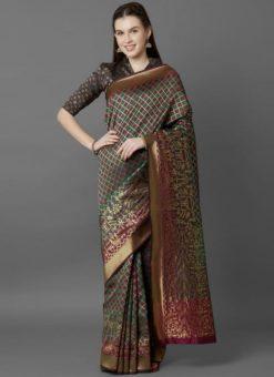 Designer Festival Green and Magenta Soft Silk Fancy Saree