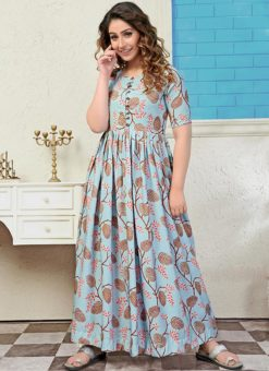 Partywear Designer Light Steel Blue Pure Maslin Gown