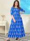 Partywear Designer Blue Pure Maslin Gown
