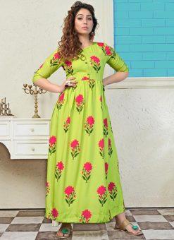 Partywear Designer Green Yellow Pure Maslin Gown