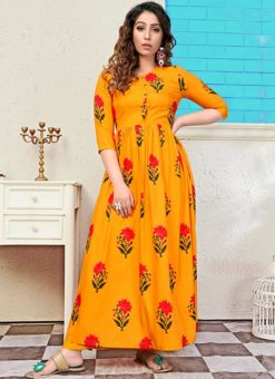 Partywear Designer Gold Yellow Pure Maslin Gown