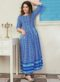Partywear Designer Steel Blue Pure Maslin Gown