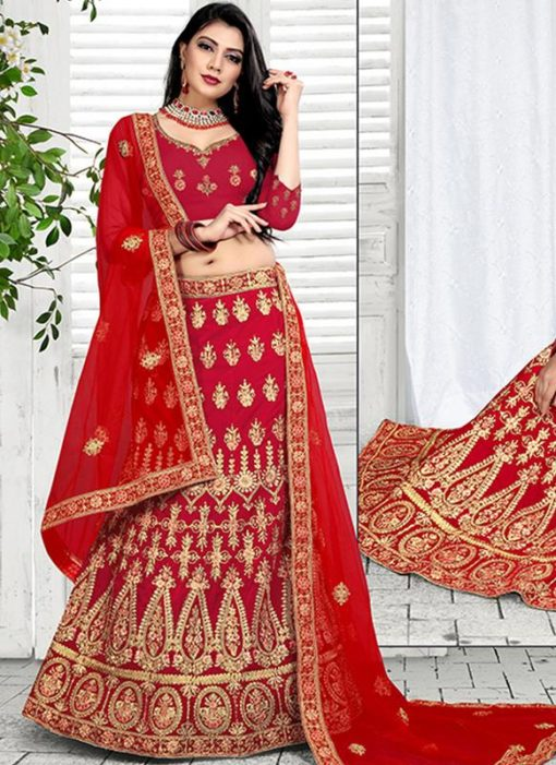 Designer Wedding Red Velvet Bridal Lahenga