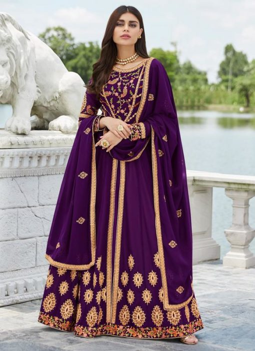 Purple Georgette Festival Wear Abaya Style Suits