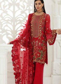 Red Georgette Designer Pakistani Suit