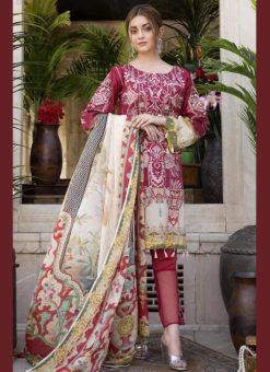 Alluring Pink Pure Cotton Cambric Jannat Lawn Pakistani Suits