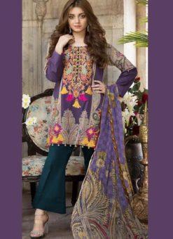 Fetching Purple Pure Cotton Cambric Jannat Lawn Pakistani Suits