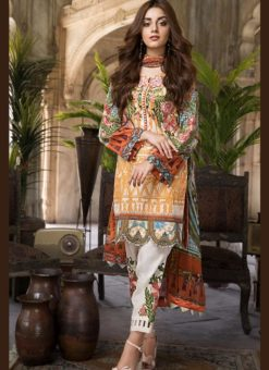 Pleasant Yellow Pure Cotton Cambric Jannat Lawn Pakistani Suits