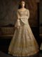 Beige Net Designer Party Wear Floor Length Anakrali Suit