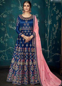Wedding Wear Designer Blue Floor Length Anarkali Suit