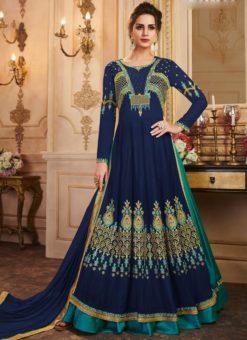 Georgette Designer Blue Floor Length Anarkali Suit