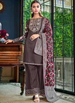 Embroidered Wrok Designer Grey Satin Palazzo Suit