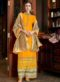 Yellow Designer Satin Party Wear Palazzo Suit