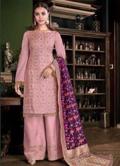 Party Wear Pink Satin Designer Palazzo Suit
