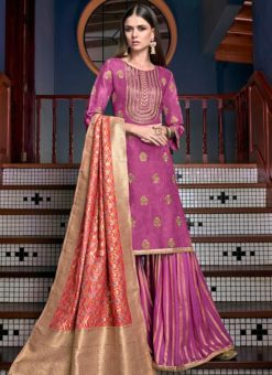 Pink Satin Designer Party Wear Palazzo Suit