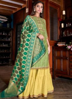 Green Designer Satin Party Wear Palazzo Suit