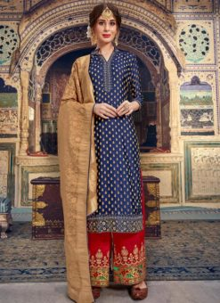 Glorious Blue Jacquard Embroidered Designer Palazzo Suit