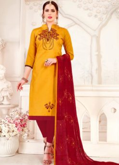 Party Wear Designer Cotton Churidar Suit
