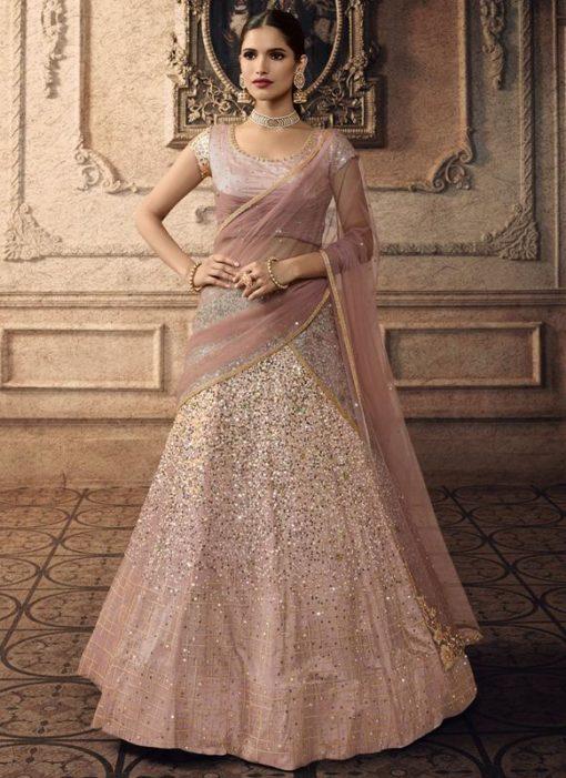 Pink Net Bridal Wedding Lehenga Choli