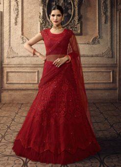 Maroon Net Wedding Lengha Choli