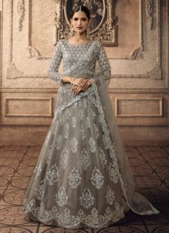 Grey Net Bridal Ghagra Choli