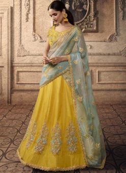 Alluring Yellow Net Bridal Lehenga Choli