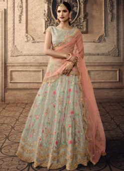 Pista Green Tissue Bridal Lehenga Choli