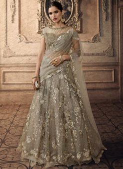Grey Net Bridal Lehenga Choli