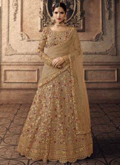 Beige Net Bridal Lehenga Choli