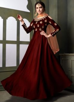 Maroon Silk Emboridered Designer Anarkali Suit