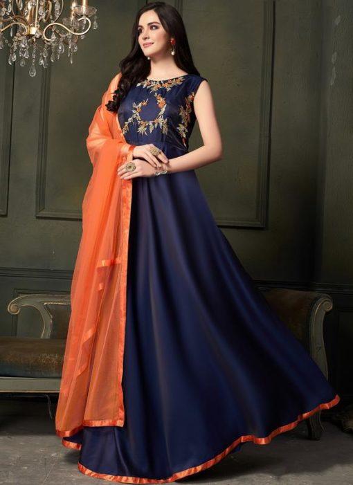 Navy Blue Silk Embroidered Designer Anarkali Suit