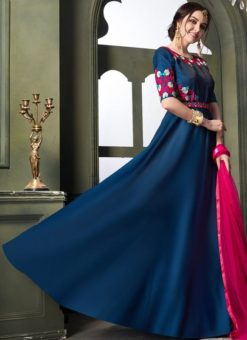 Blue Silk Embroidered Designer Anarkali Suit