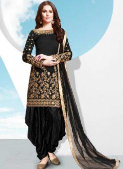 Black Tafeta Silk Designer Patiyala Salwar Suit