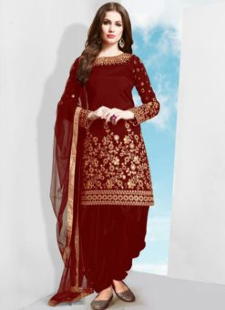 Red Tafeta Silk Designer Patiyala Salwar Suit