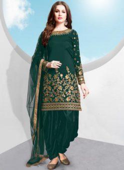 Green Tafeta Silk Designer Patiyala Salwar Suit